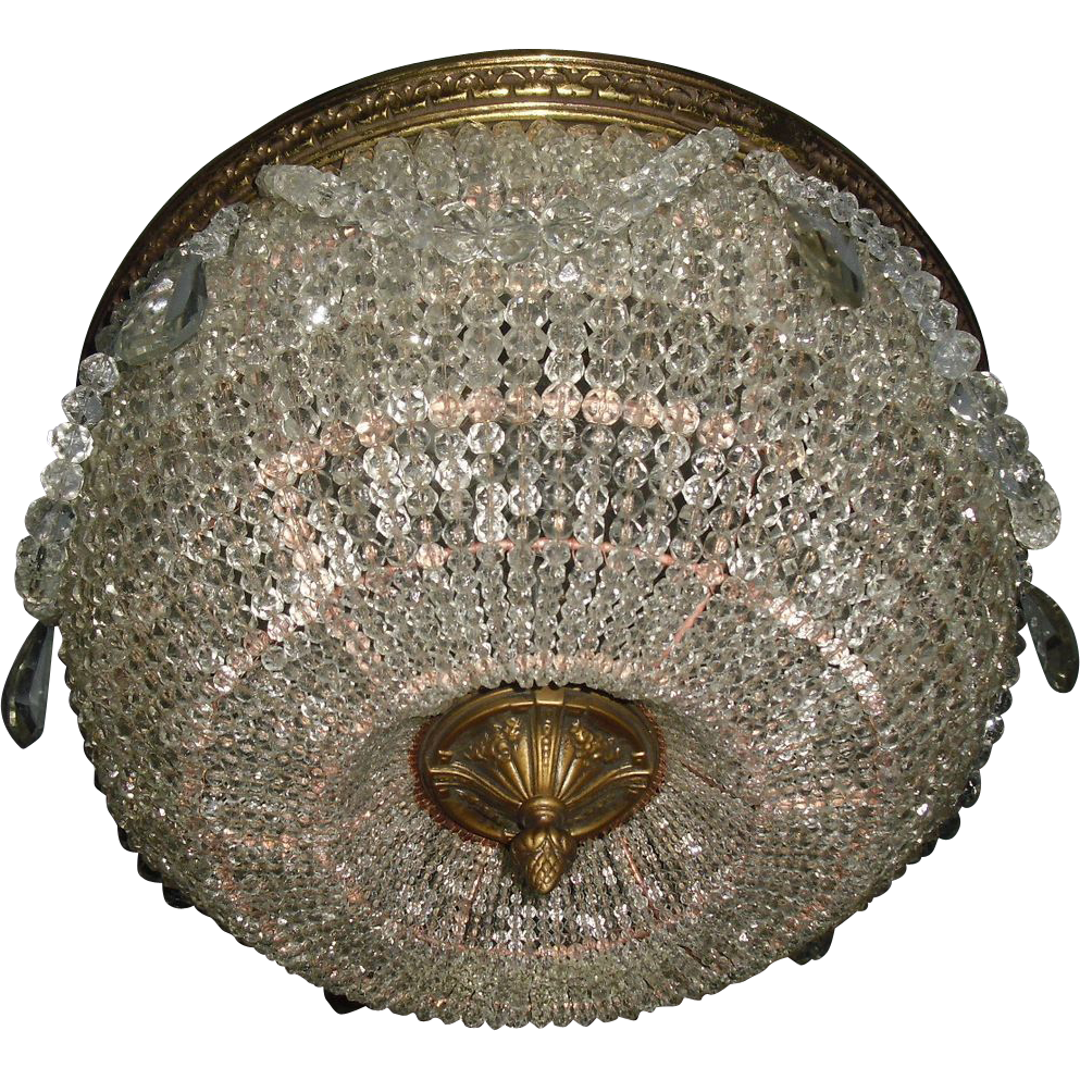 Superb Crystal Graduated Bead Dome Ceiling Light