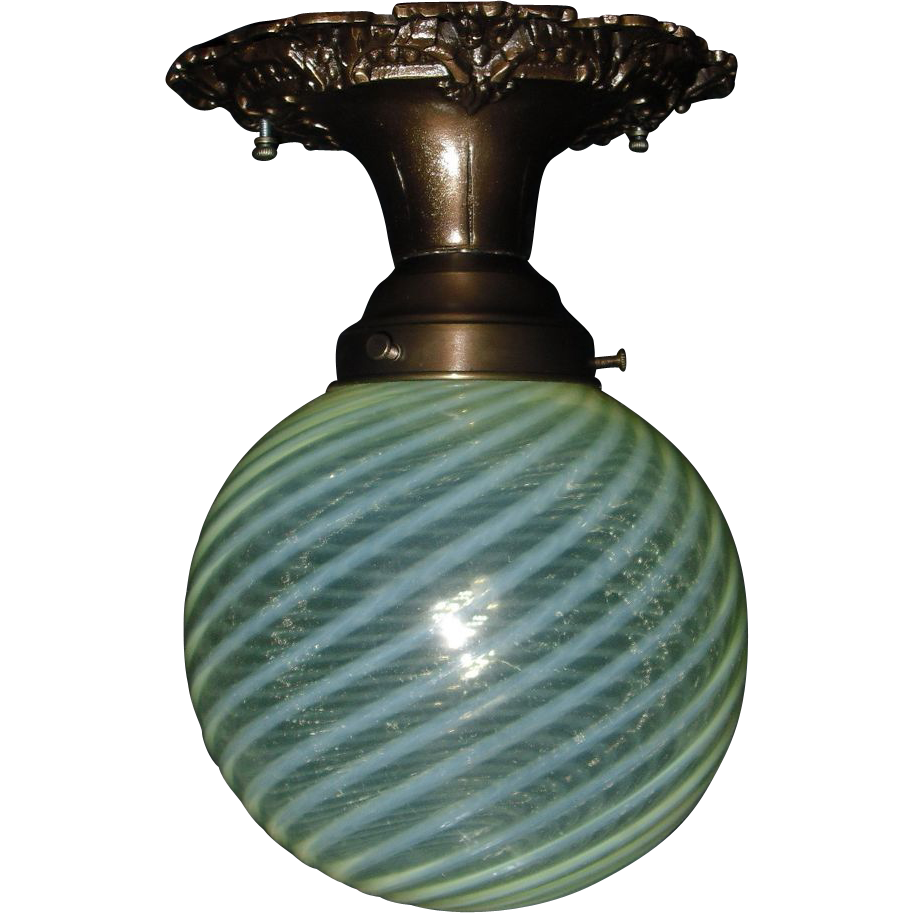 Victorian Fancy Bronze Ceiling Light w Yellow Opalescent Swirl Glass Shade