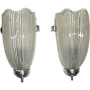 Art Deco Machine Age Slip Shade Wall Sconces - two pair available