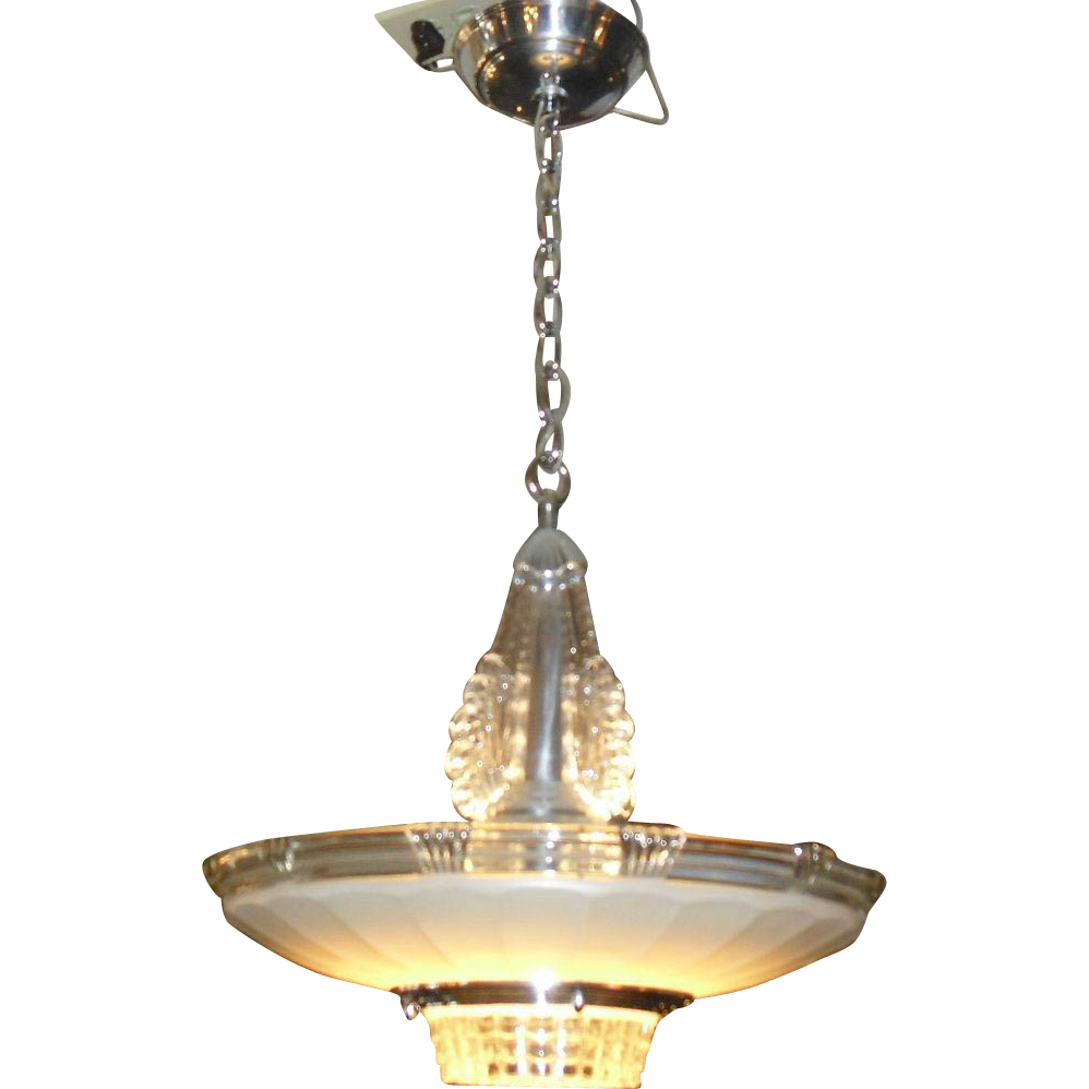 Art deco chrome glass pendant light fixture from rubylane sold on ruby lane - Light fixture chandelier ...