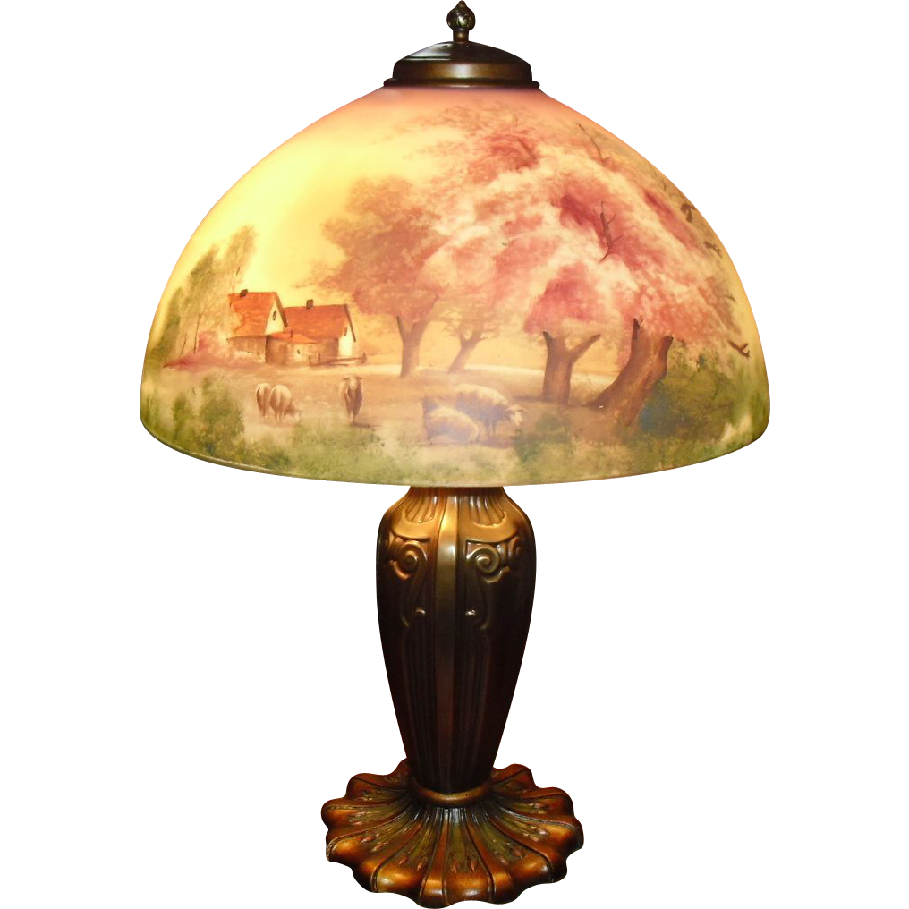 Pittsburgh Obverse Painted Table Lamp - Pastoral Scene