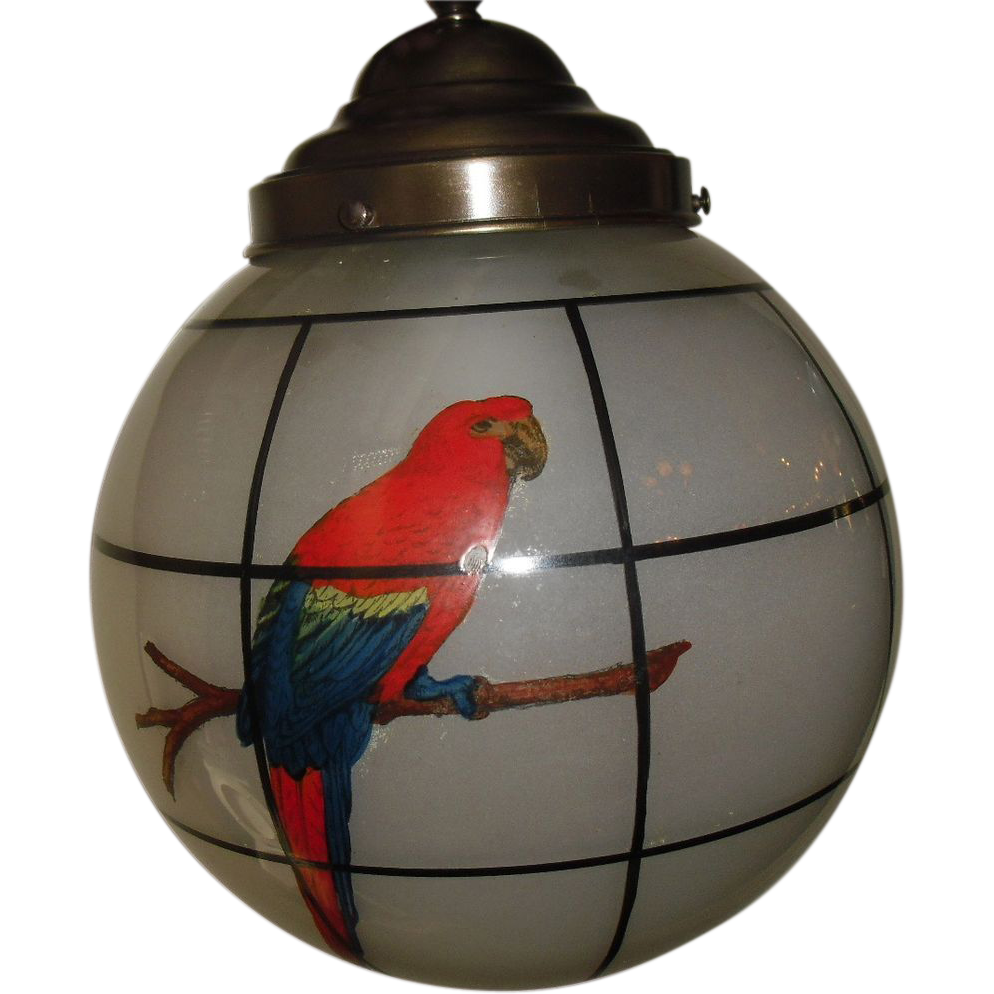 Pendant Light Fixture w Decorated Glass Ball Shade - Parrots