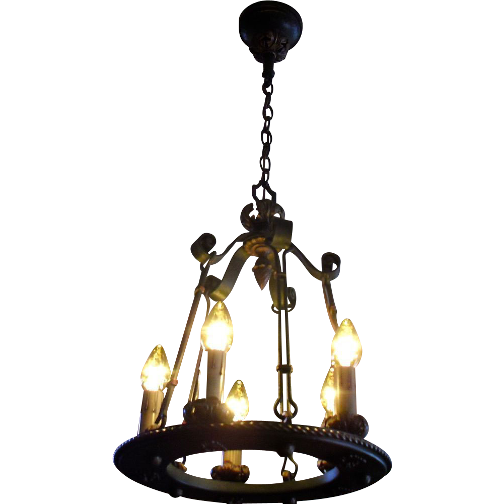 Spanish Revival Iron & Brass 5 Light Chandelier
