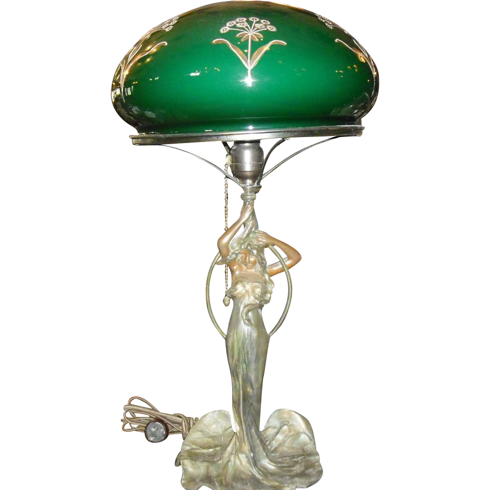 Art Nouveau Figural Lady Table Lamp - Decorated Green Cased Dome Shade