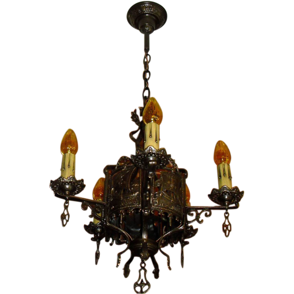 Tudor Cast Bronze 5 Light Chandelier w Ships