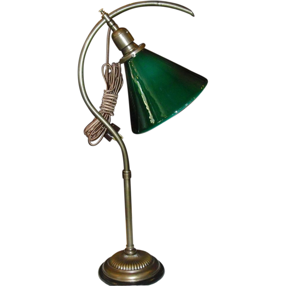 Early Adjustable Question Mark Desk Lamp w Green Cased Cone Shade