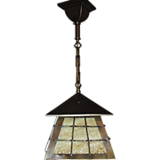 Arts and Crafts Brass w Slag Glass Pendant Light Fixture