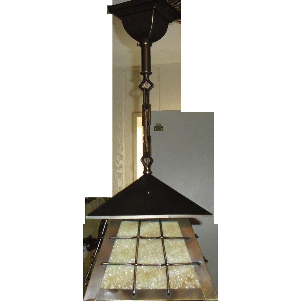 Arts and Crafts Brass w Slag Glass Pendant Light Fixture