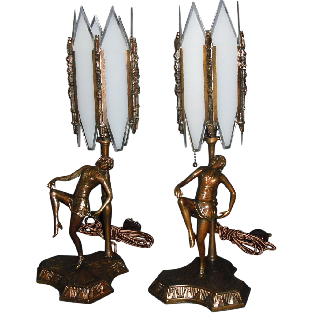 Pair of Art Deco Dancing Lady Boudoir Table Lamps