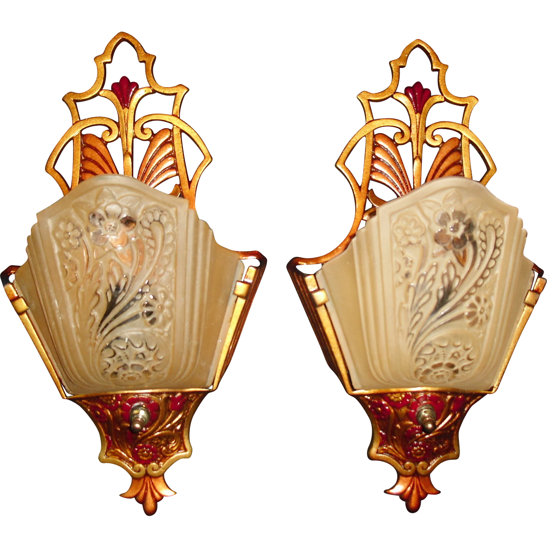 Art Deco Slip Shade Wall Sconces w Consolidated Glass Shades