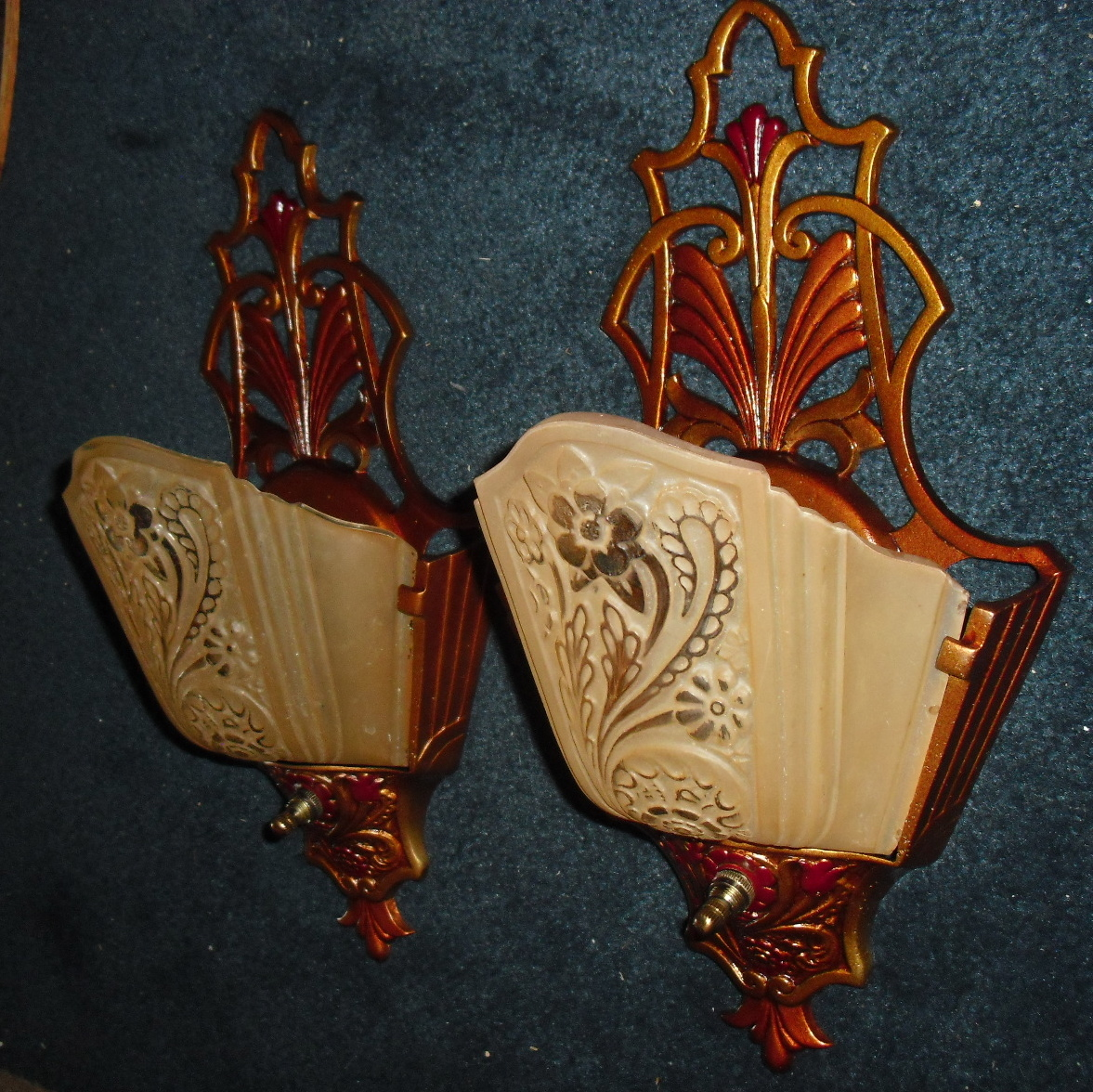 art deco slip shade wall sconces w glass shades