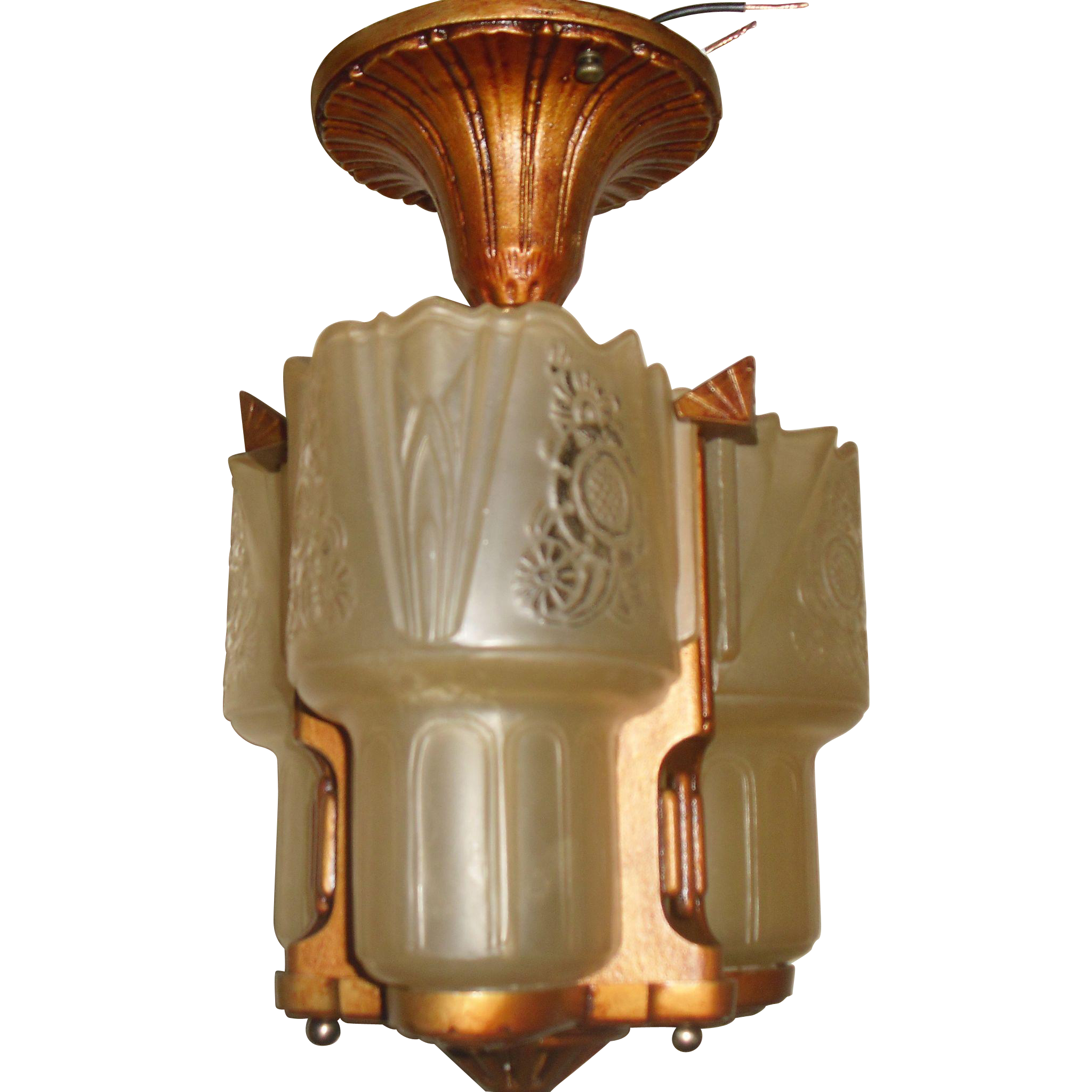 Lightolier Art Deco Slip Shade 3 Shade Ceiling Fixture