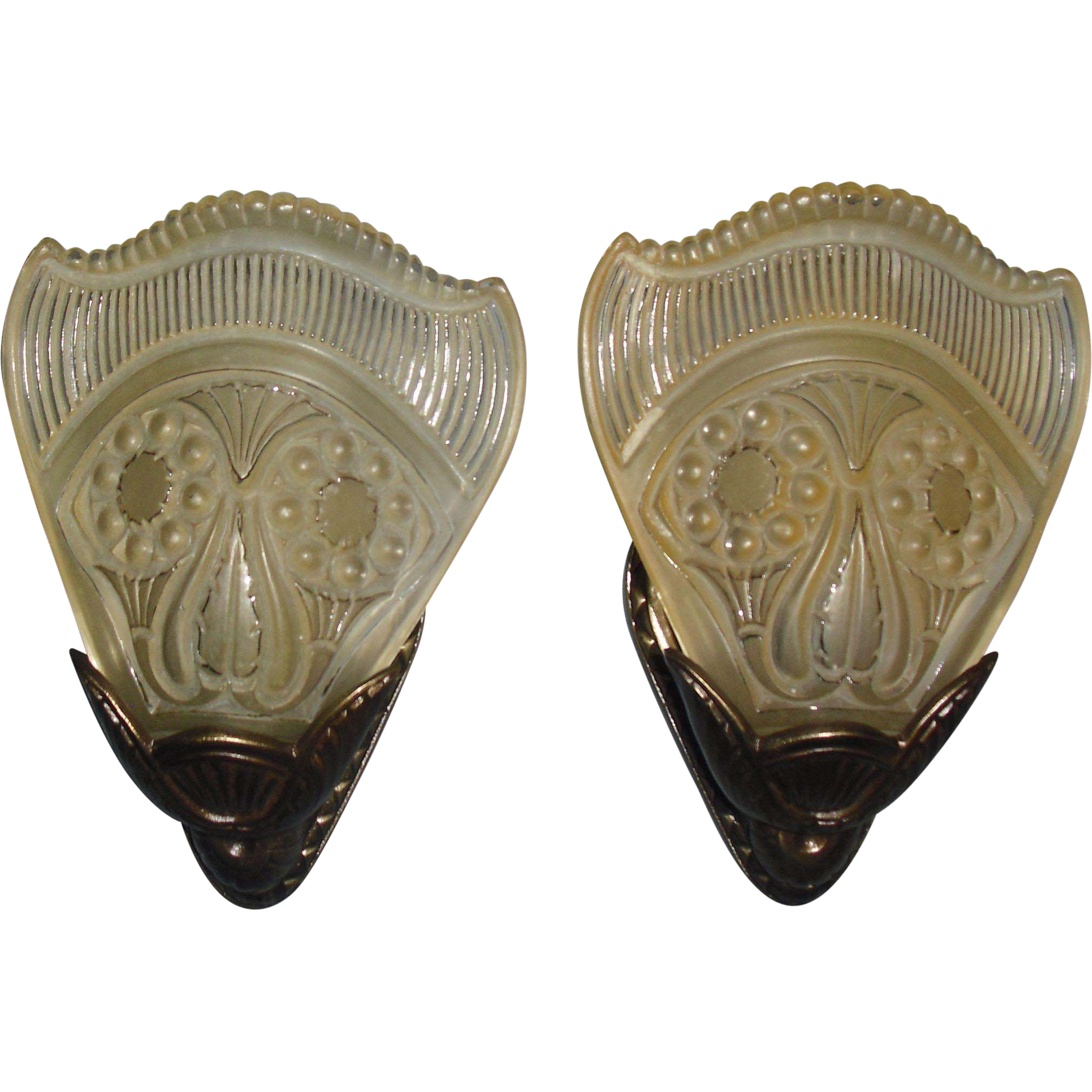 Lightolier Art Deco Slip Shade Bronze Wall Sconces - 2 pair available