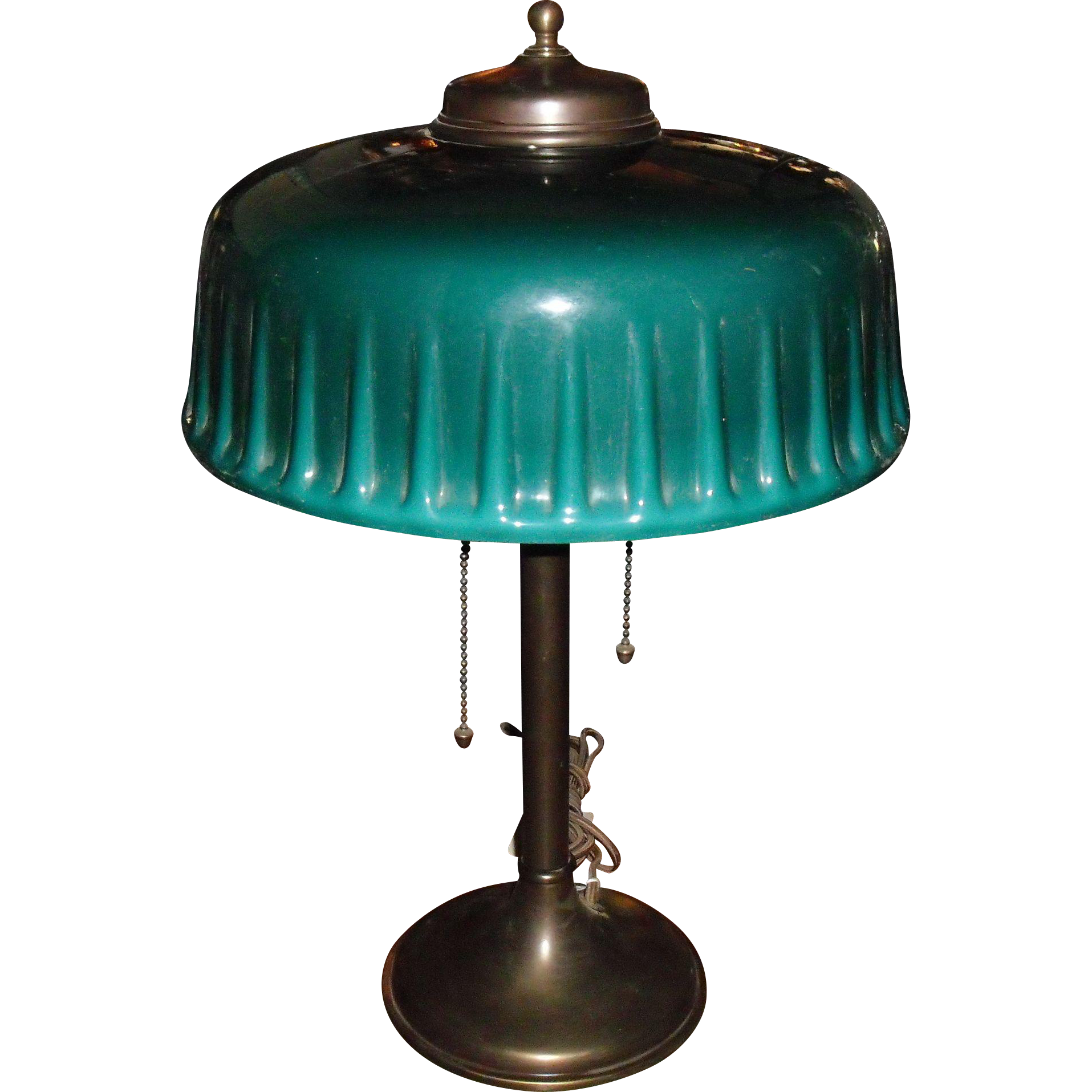 Emeralite Desk or Table Lamp with Green Cased Shade from ...