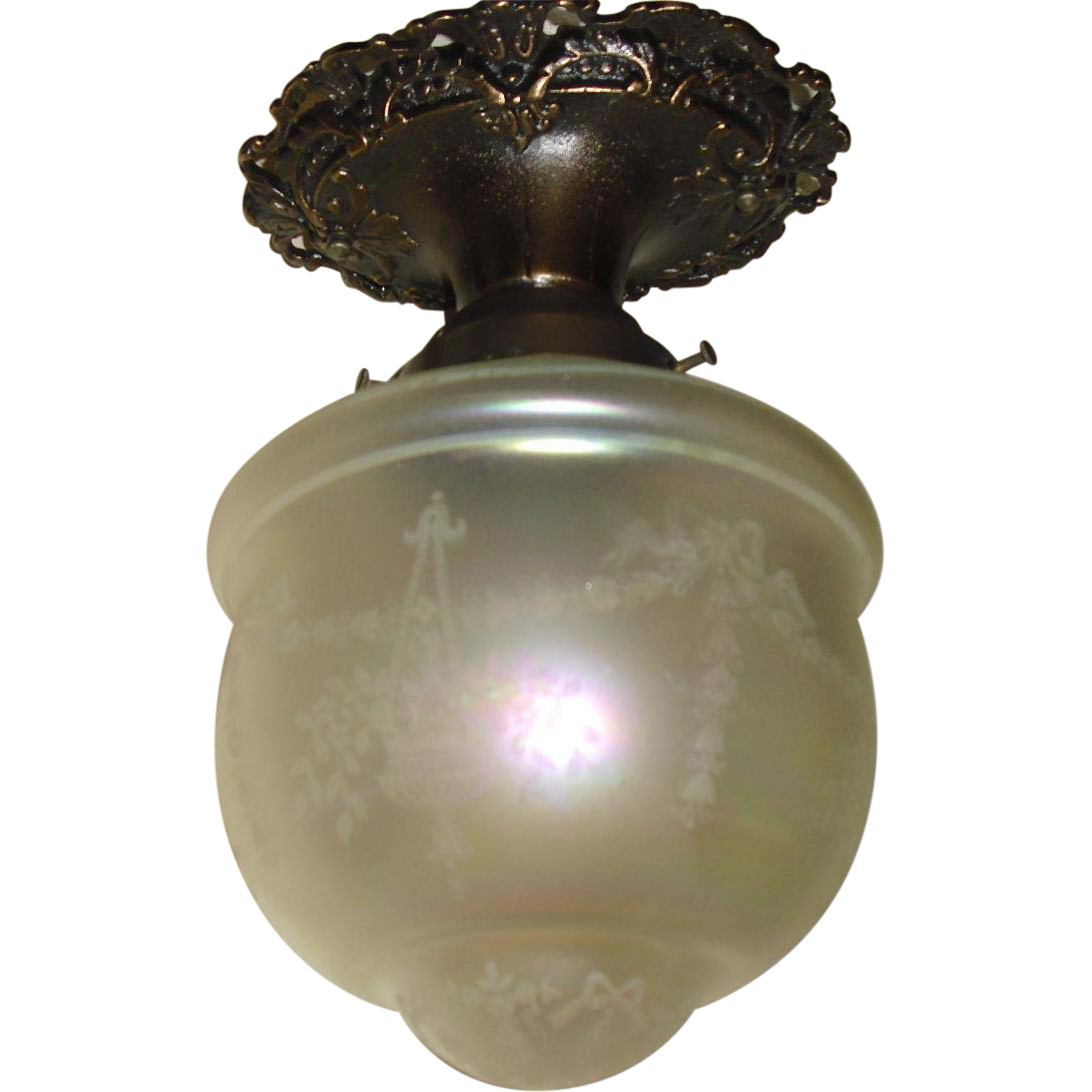 Victorian Ceiling Light - Fancy Bronze Fixture with Iridescent Acid Etched Shade - 2 available