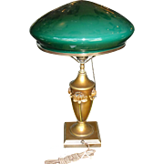 Early Table Lamp with Green Cased Dome Shade