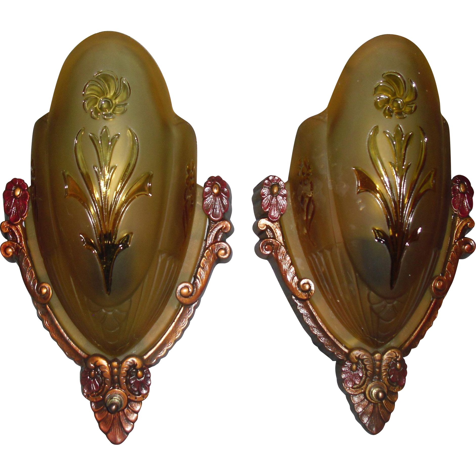 Art Deco Slip Shade Wall Sconces - Markel - 2 pair available