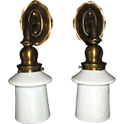 Caldwell Cast Brass Sconces with Steuben Calcite Acid Cut Back Glass Shades