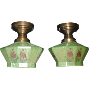Pair Ceiling Lights: Brass with Reverse Painted, Acid Etched Glass Shades