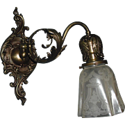 Pair Victorian Cast Brass Swing Arm Sconces w Deep Etched Shades