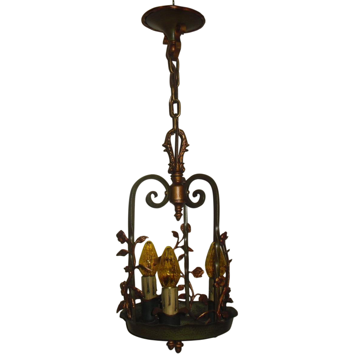 Spanish Revival Iron and Brass 3 Light Pendant