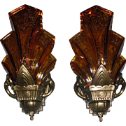 Halcolite Art Deco Slip Shade Wall Sconces - 2 pair available