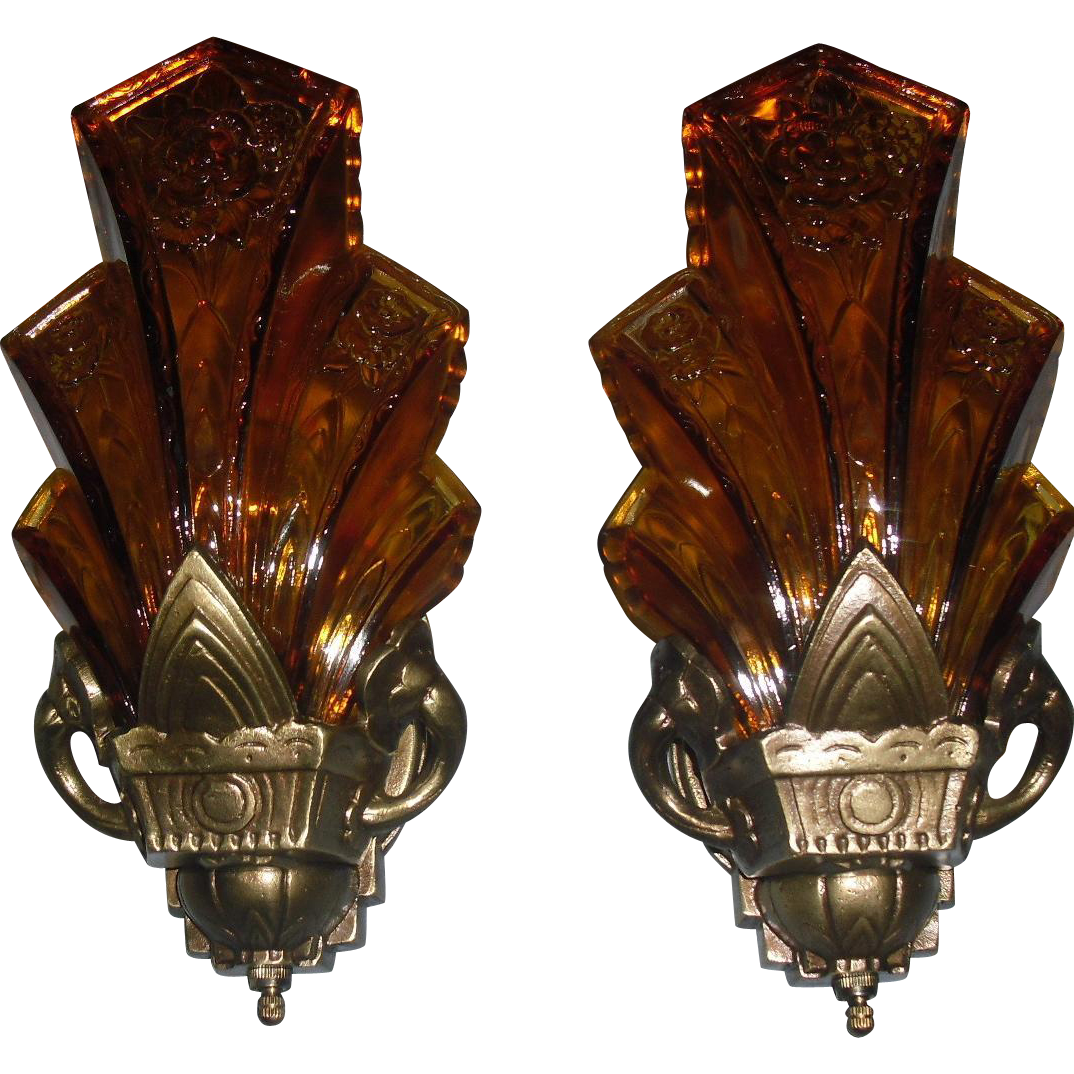 Halcolite Art Deco Slip Shade Wall Sconces - 2 pair available
