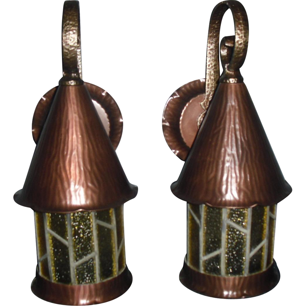 Arts & Crafts /Tudor Copper and Brass Porch Lights w Leaded Glass - 1 available