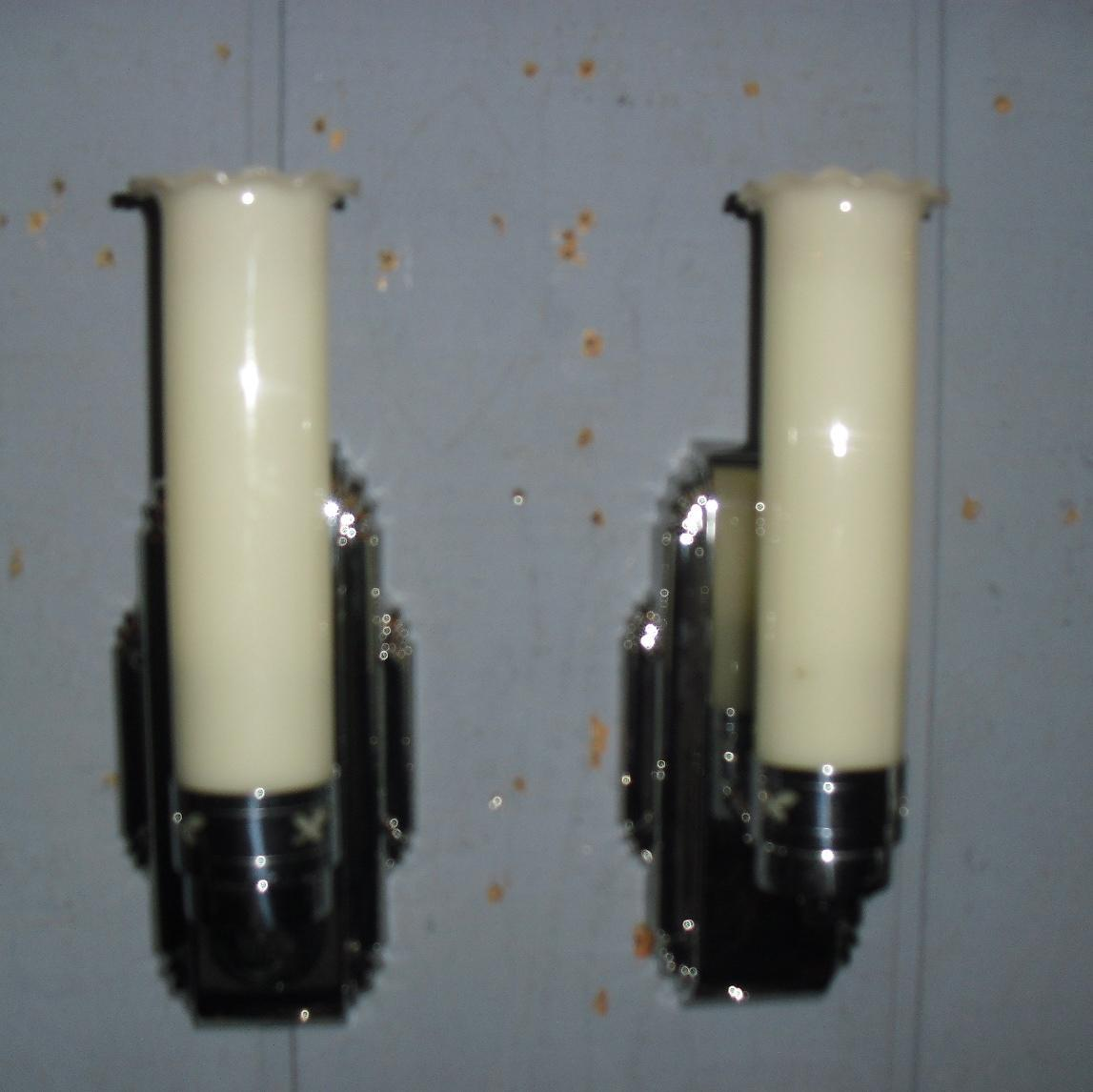 Bathroom wall sconces chrome with milk glass shades from for Chrome bathroom sconce with shade