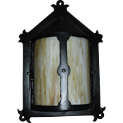 Arts and Crafts Porch Light - Iron with Bent Panel Slag Glass