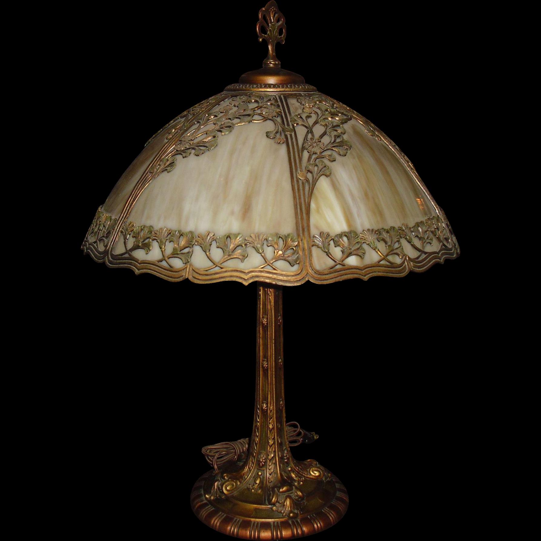 Large American Bent Panel Slag Glass Table Lamp