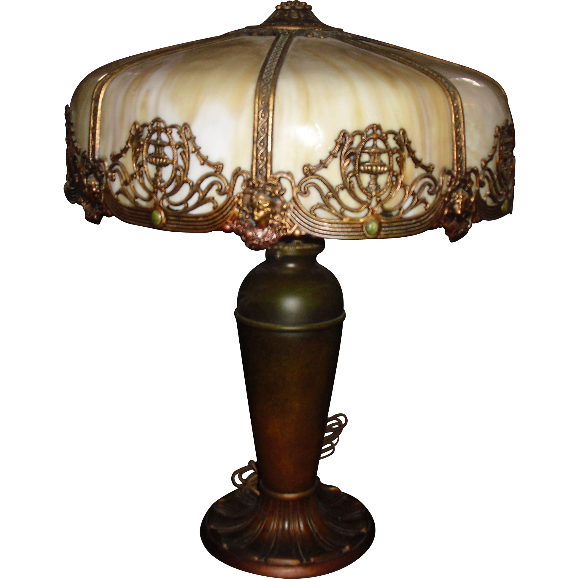 Large Miller Bent Panel Slag Glass Table Lamp From