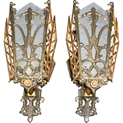 Stylized Art Deco Wall Sconces w Original Finish - 2 pair available