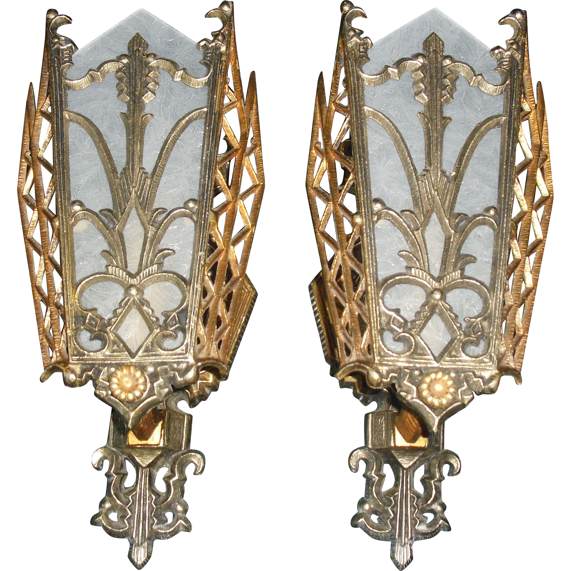 Stylized Art Deco Wall Sconces w Original Finish