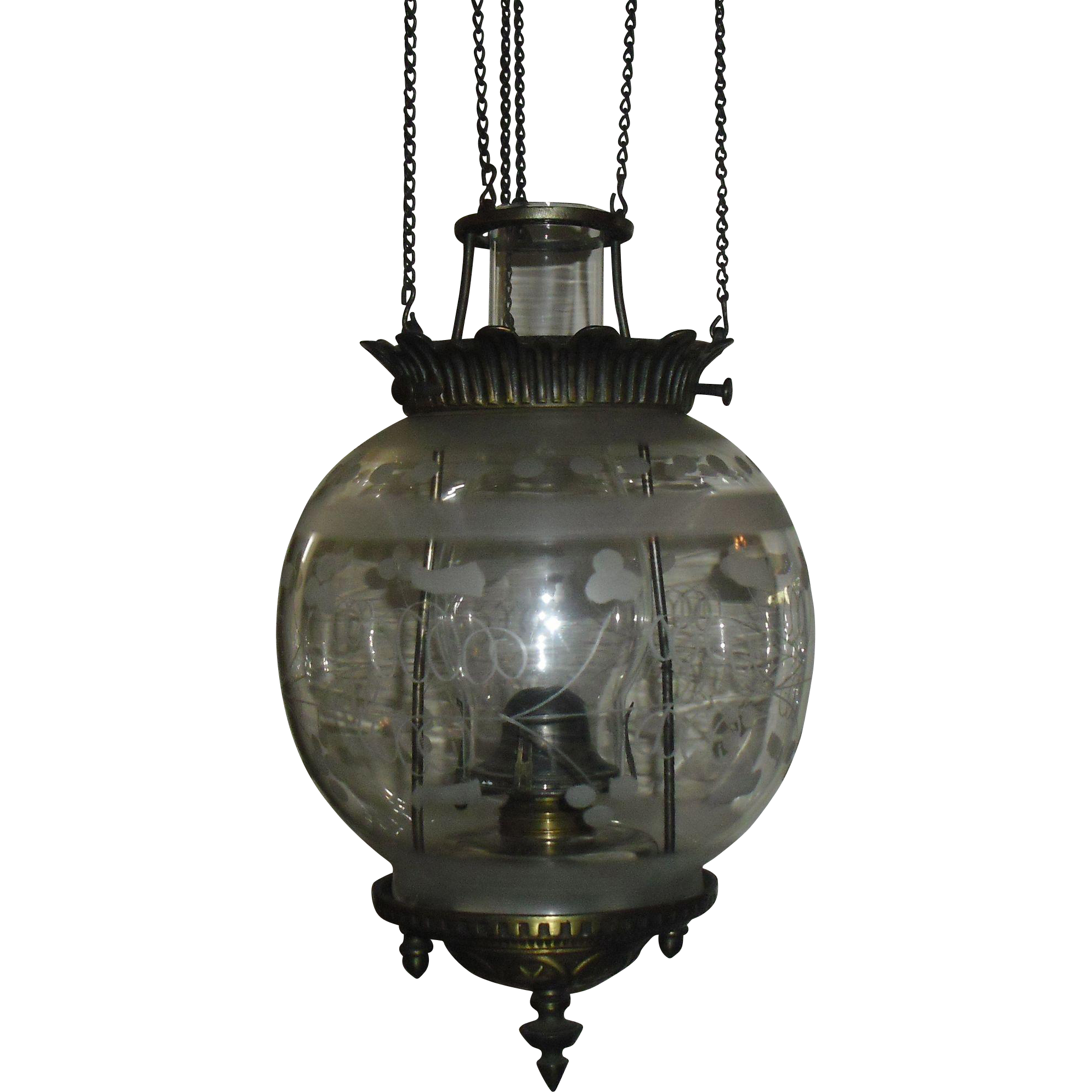 Cast Iron Kerosene Oil Pull Down Entry Hall Light