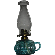 Blue Glass Kerosene Oil Finger Lamp