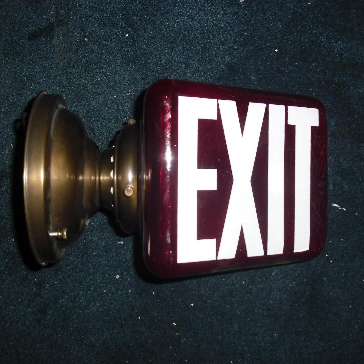 Wall Mounted Exit Lights : Deep Red Glass Triangular Exit Light - Wall Mount from sherlocksantiquelights on Ruby Lane