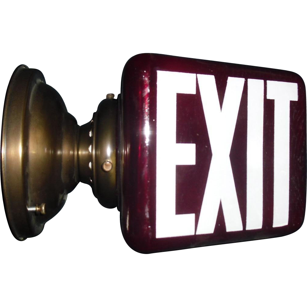 Deep Red Glass Triangular Exit Light - Wall Mount