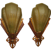 Virden Art Deco Slip Shade Wall Sconces - 2 pair available