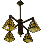 Arts & Crafts 4 Light Chandelier - Brass with Slag Glass Shades