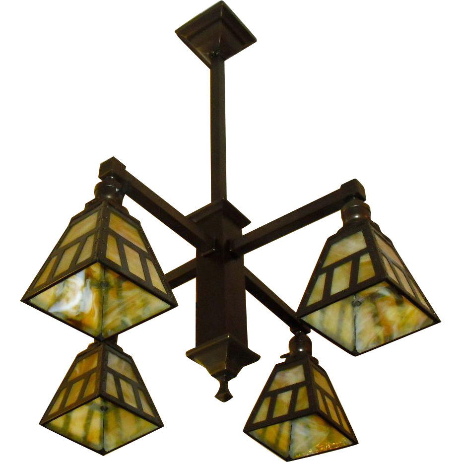 Arts & Crafts 4 Light Chandelier - Brass with Slag Glass Shades