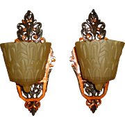 Lincoln Art Deco Amber Slip Shade Sconces - 3 pair available