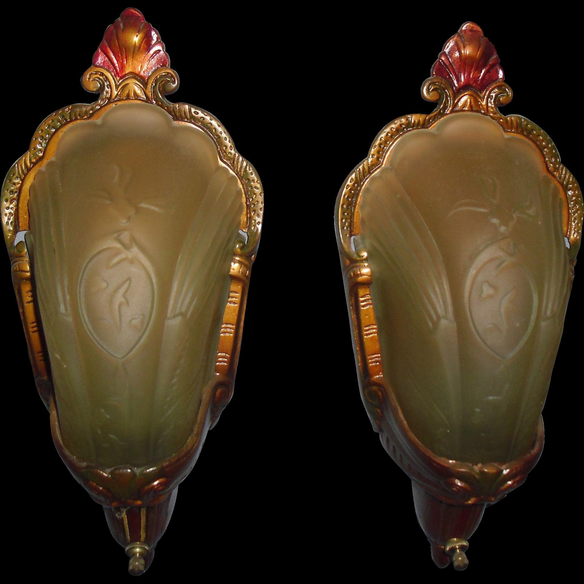 Art Deco Slip Shade Wall Sconces Amber Shades