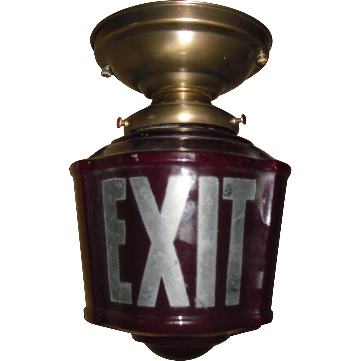 Ruby Red 3 Sided Exit Ceiling Light in Brass Fixture