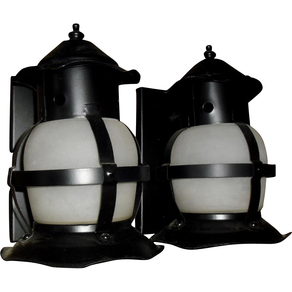 Vintage Lantern Style Iron and Glass Porch Lights