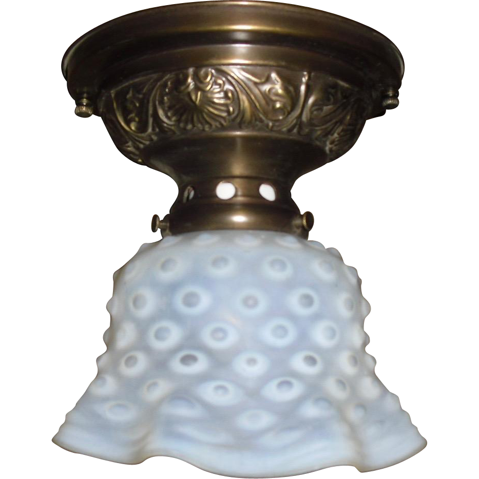 Opalescent Blue Hobnail Glass Shade on Decorated Brass Ceiling Fixture