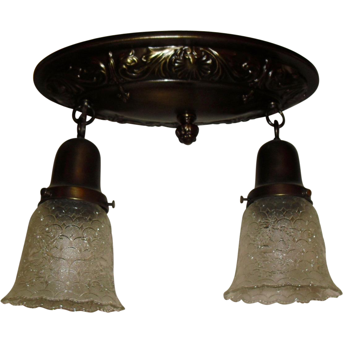 Decorated Brass Ceiling Light Fixture with 2 Glass Shades