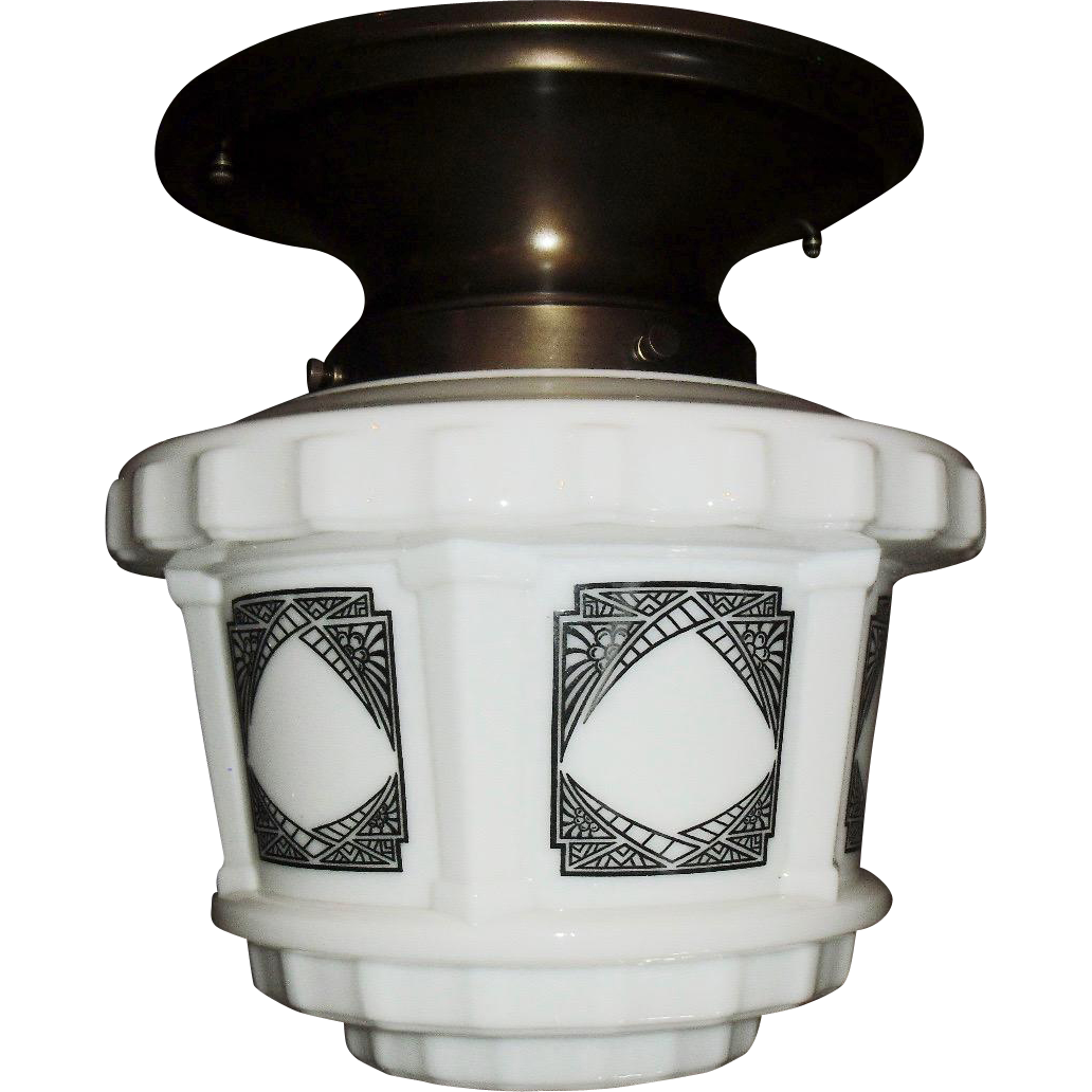 Art Deco Stylized Black on White Step Shade in Brass Fixture