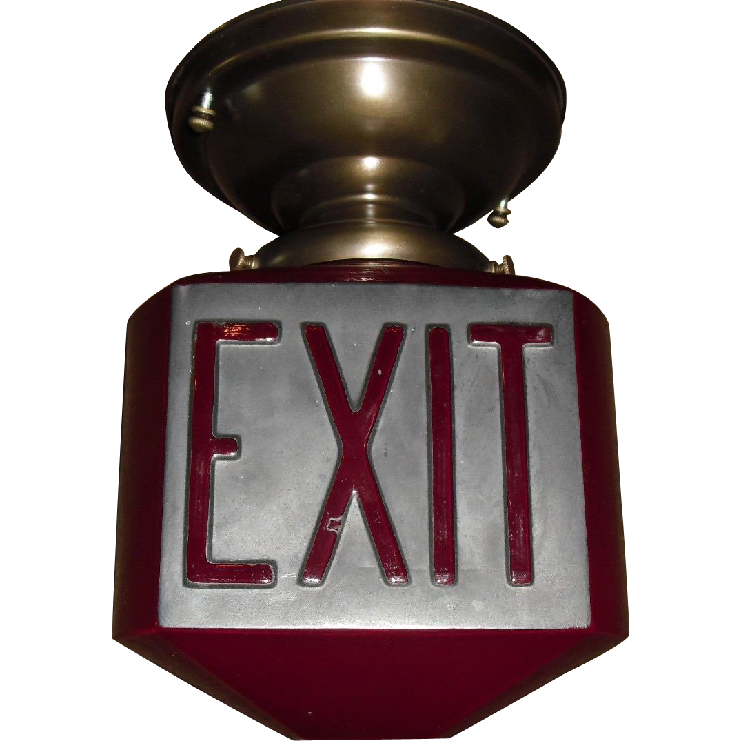 Ruby Red Triangular Exit Light with Raised Letters