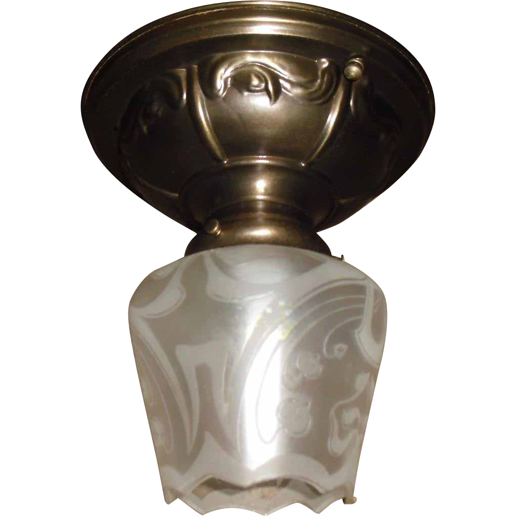 Art Nouveau Ceiling Light Fixture - Brass with Iridescent Acid-Etched Glass Shade - 2 available